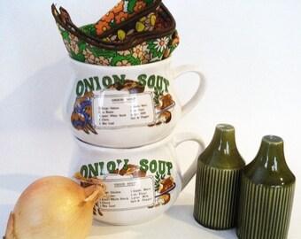 "Vintage ""Onion Soup"" Set of Soup Mugs"