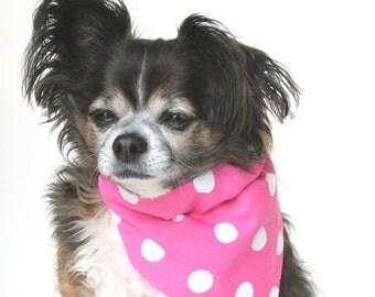 Dog Bandana Pink and White Polka Dot