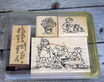 Stampin' Up Rubber Stamp Set, Friendships Grow 2001, Set of 4