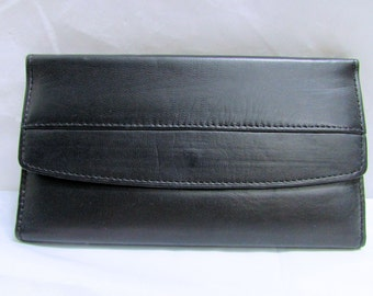 Vintage New Old Stock Black Genuine Leather Wallet - Checkbook Currency Ids Credit Cards Coins Compartments