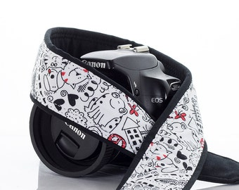 Doodles dSLR Camera Strap, Kid print, Scribbles, Art, Camera Neck Strap, Nikon Canon Strap, Quick Release, Pocket, SLR, 97 a