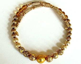 """GOLD VENETIAN MURANO foil glass bead 17 3/8"""" necklace, amber,ivory,brown,gold,gold,gold,metal,picture jasper"""
