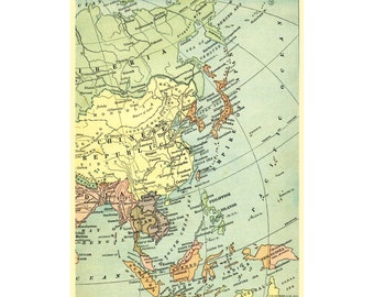Asia China Japan Indonesia antique vintage map of 1909  in pastel colors for instant printable download.  A4 and letter size formats.