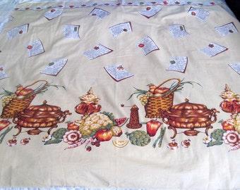 Vintage fabric retro material kitchen tea towel kitchen towel curtains kitchen curtains harvest recipe cards cotten recipe card fabric