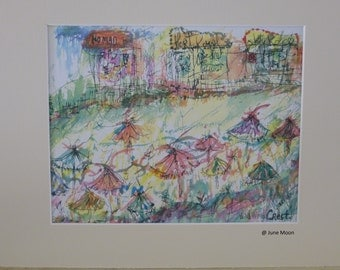 Umbrellas on the Beach ~ a signed Watercolor Print by Artist June Moon of Poppy Cottage Wildwood Crest ,New Jersey Coastal  Jersey Shore