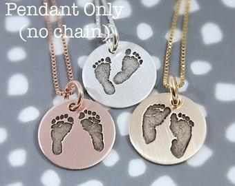 Actual footprint pendant, No Chain - Add-on pendant - a la carte pendant - keepsake necklace - tagyoureitjewelry - footprint tag -baby feet