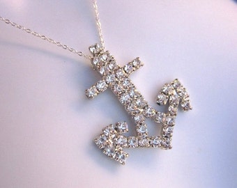 SALE Rhinestone Anchor Necklace Nautical Jewelry