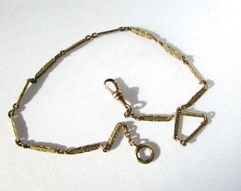 Gold Filled Pocket Watch Chain Art Deco Bar Links Edwardian Swivel Clip