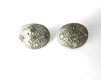 Shoe Clips Strap Buckles Rhinestone Art Deco Pot Metal Button Covers