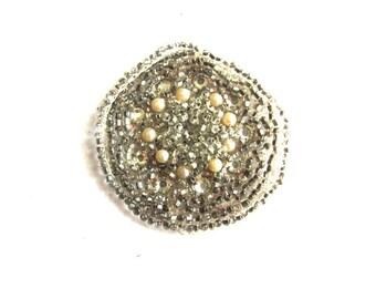 Silver Bead Applique Vintage Rose Montee Crystal Embellishment Faux Pearl Art Deco Costume Design Dressmaker Assemblage Altered Art