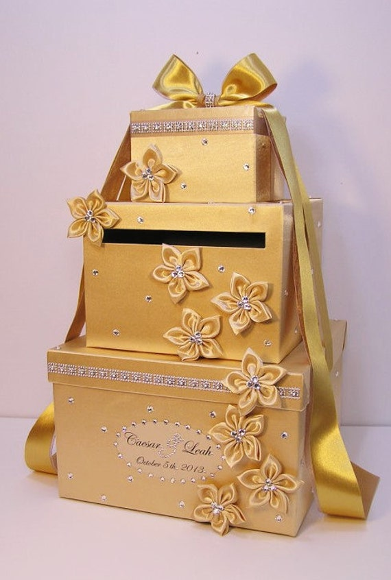 Wedding Card Box Gold Gift Card Box Money Box Holder-Customize your ...
