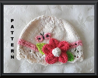Knitted Hat Pattern Baby Hat Pattern Newborn Hat Pattern Infant Hat Pattern Flower Hat Pattern: POLKADOT BUTTERFLY