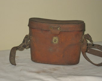 Vintage Binoculr Storage Case, Old Leather Display Accessory Case, Hard Carrying Case