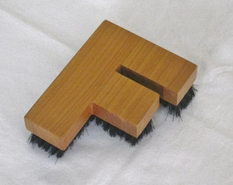 Vintage Mens Grooming Brush, Initial F Monogrammed Letter, Decorative Vanity Dresser Accessory