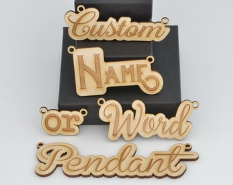Custom Name or Word Laser Engraved from Birch, Alder, or Walnut Wood Pendant Necklace - Choose Your Font!