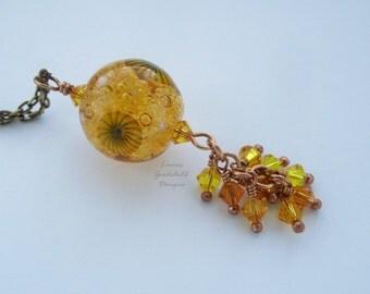 Golden Bubbles lampwork pendant, waterfall pendant, cluster pendant, champagne bubbles