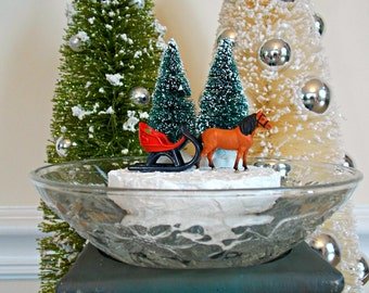 Horse, Sleigh, Horse and Sleigh, Diorama, Christmas Decoration, Winter, Home Decor, Miniature, Mantel, Bottle Brush Tree, Winter Scene