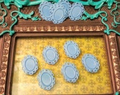 10 Filigree Bezel Pendant Settings, Light Blue Copper Plated 24x32mm, Holds a 13x18mm Cabochon, Lead and Nickel Free