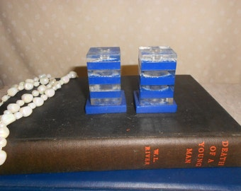 Retro Acrylic and blue square  salt and pepper shakers