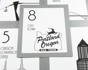 Portland Table Number Wedding Decor Reception Sign Cards Landmark Icons Made to Order Oregon Travel City