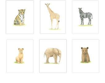 ANIMAL PRINTS NURSERY Art  6 Print Set 11 x 14 baby Boy Nursery Safari Nursery Print Nursery Art Baby Elephant Giraffe Tiger Zebra bear Lion