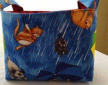 Fabric Organzier Basket Container Caddy Storage Bin - Raining Cats and Dogs