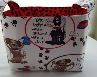 Fabric Organizer Basket Container Bin Caddy Storage - Dog Days