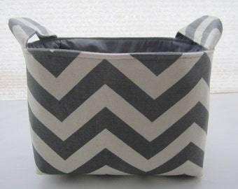 Fabric Organizer Basket Storage Bin Container Fabric  - Chevron Grey Zig Zag