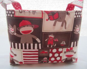 Fabric Organizer Storage Basket Bin Container - Sock Monkey Around Squares -
