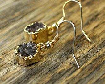 Valentine SALE - Druzy Earrings, Druzy Gold Earrings, Druzy Jewelry, Druzy Pendant Earrings, Druzy Gold Round Earrings, Druzy Stone, 14k ...