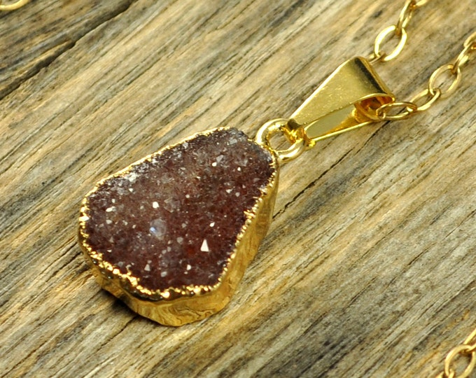 Small Druzy Necklace, Cherry Druzy Pendant, Cherry Druzy Jewelry, Cherry Druzy, Gold Druzy Necklace, Gold Druzy Pendant, 14k Gold Fill Chain