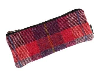 Harris Tweed pencil case in pink and purple tartan