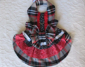 Dog Harness Dress Red and Gray Plaid Small