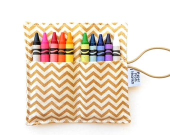 Mini Crayon Roll - Gold Chevron - crayon wallet, metallic, party gift, small crayon holder