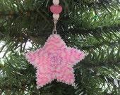 Christmas Star Ornament Tree Decoration in peppermint tutti fruitti pink and white peyote stitch with custom hanger