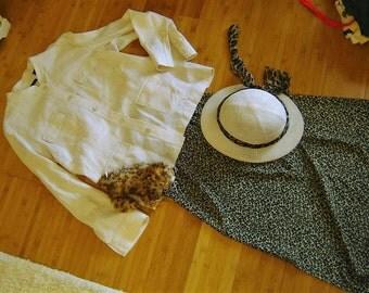 Costume  Safari jungle white jacket skirt pith helmet  sz  XL women's Halloween