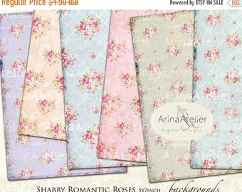 SALE 30% OFF - Romantic Shabby Roses DIGITAL Paper - Large Image Scrapbooking - Background - 5x7 inch - Digital Print - Digital Collage Shee