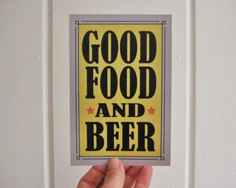 Good Food and Beer Postcard, Party Invitation, Party Thank You