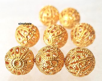 10mm Gold Round Filigree Metal Brass Beads 8 Pcs