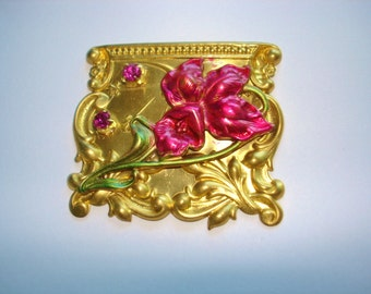 Flower Brooch Fushia Green Stones Gold Tone