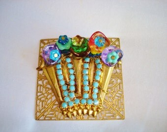 Flower Basket  Multi Color Rhinestone Gold Tone Brooch