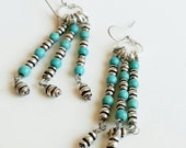 Bohemian Chandelier Earrings Silver and Turquoise Dangle Boho Southwestern Inspired