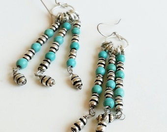 Bohemian Chandelier Earrings Silver and Turquoise Dangle Boho Southwestern Inspired