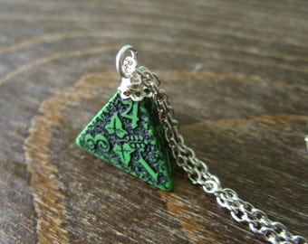 D4 dice necklace forest dice pendant dungeons and dragons geek geekery green black dice pendant pathfinder jewelry D20 girl