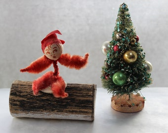 Elf Pipe Cleaner Pressed cotton face Sitting on a Log Japan Christmas Ornament VINTAGE by Plantdreaming