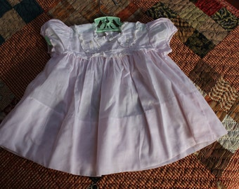Infant Gown Pink Cotton Dress Lace Embroidered Newborn layette Baby Girl VINTAGE by Plantdreaming