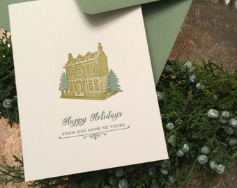 Holiday House Letterpress Greeting Card