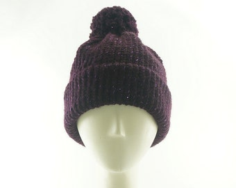 Galaxy Purple BEANIE HAT For Women / KNIT Hat w Pom Pom / Wool Slouch Hat / Handmade by Marcia Lacher Hats