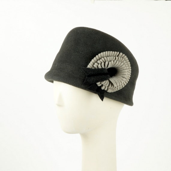 Charcoal Gray Bucket Hat for Women, Gray Cloche Hat, Womens Felt Hat, Designer Hats, Vintage Hat Style, Ladies Winter Hat, Elegant Hat,