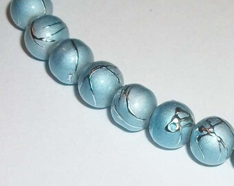 Glass round beads 8mm Blue grey metallic  1 strand per lot 50 beads